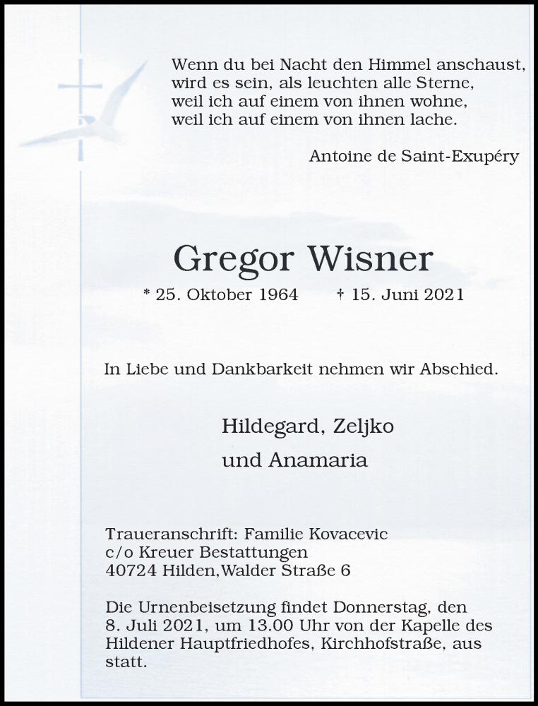 Traueranzeige für Gregor Wisner vom 26.06.2021 aus Rheinische Post