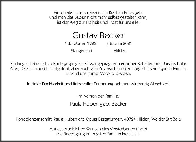 Traueranzeige für Gustav Becker vom 11.06.2021 aus Rheinische Post