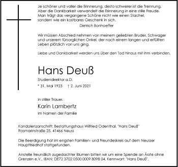 Traueranzeige von Hans Deuß von Rheinische Post