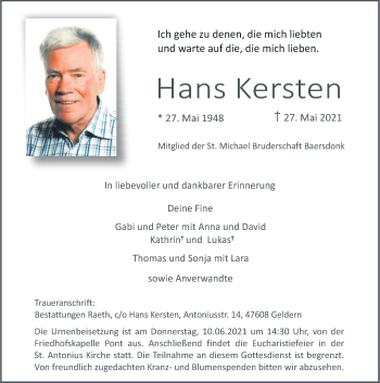 Traueranzeige von Hans Kersten von Rheinische Post