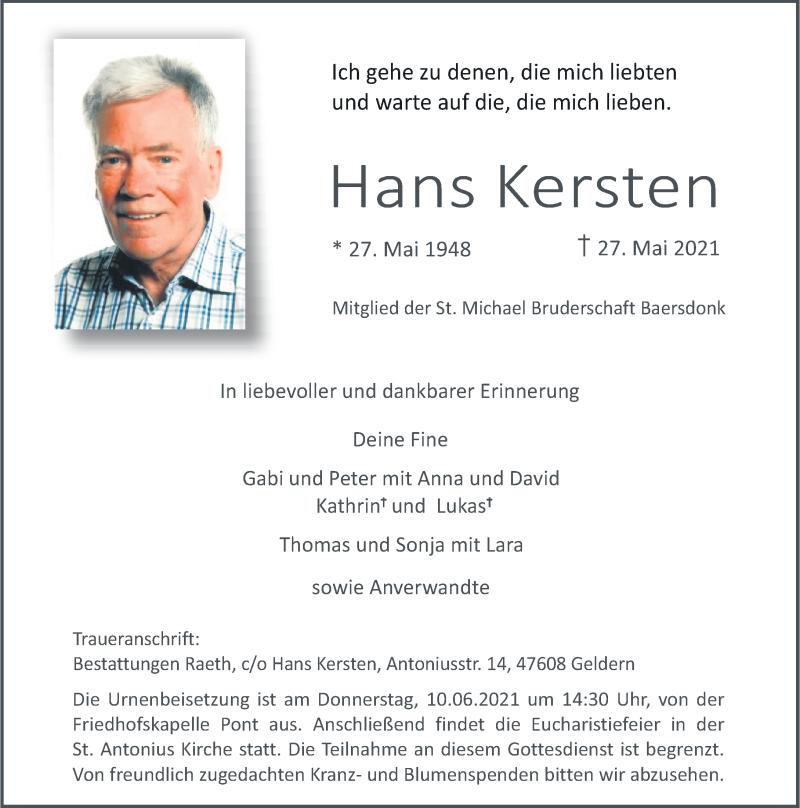 Traueranzeige für Hans Kersten vom 02.06.2021 aus Rheinische Post