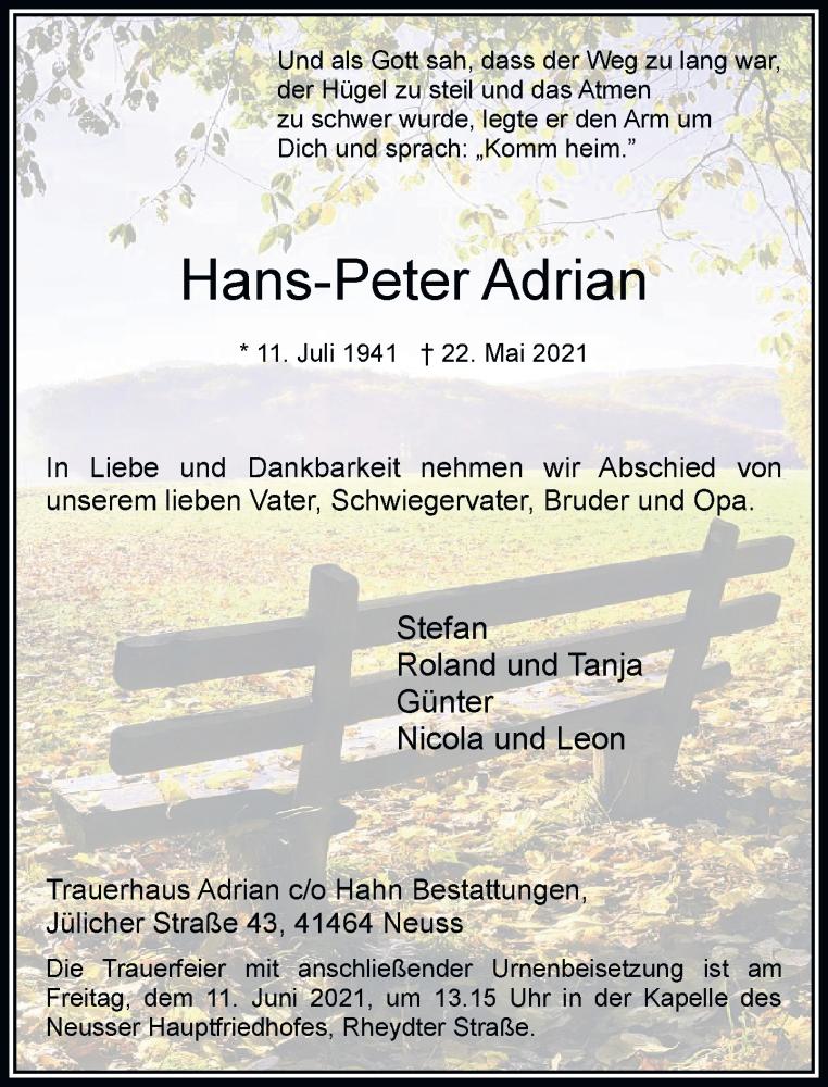 Traueranzeige für Hans-Peter Adrian vom 05.06.2021 aus Rheinische Post