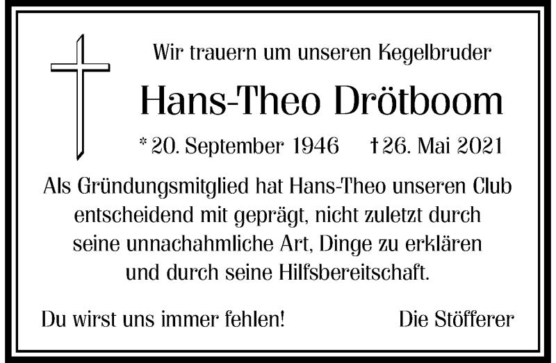 Traueranzeige für Hans-Theo Drötboom vom 05.06.2021 aus Rheinische Post