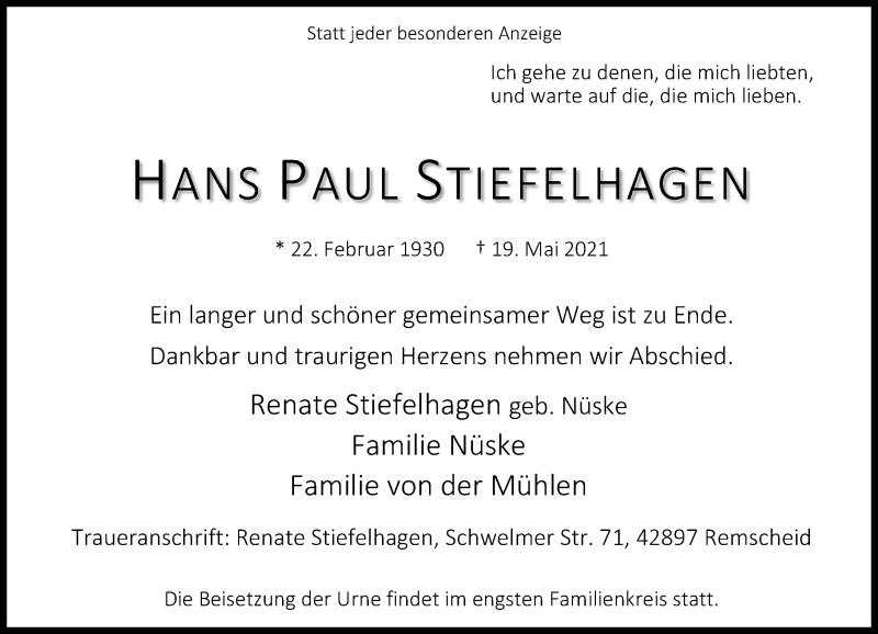 Traueranzeige für Hans Paul Stiefelhagen vom 12.06.2021 aus Rheinische Post