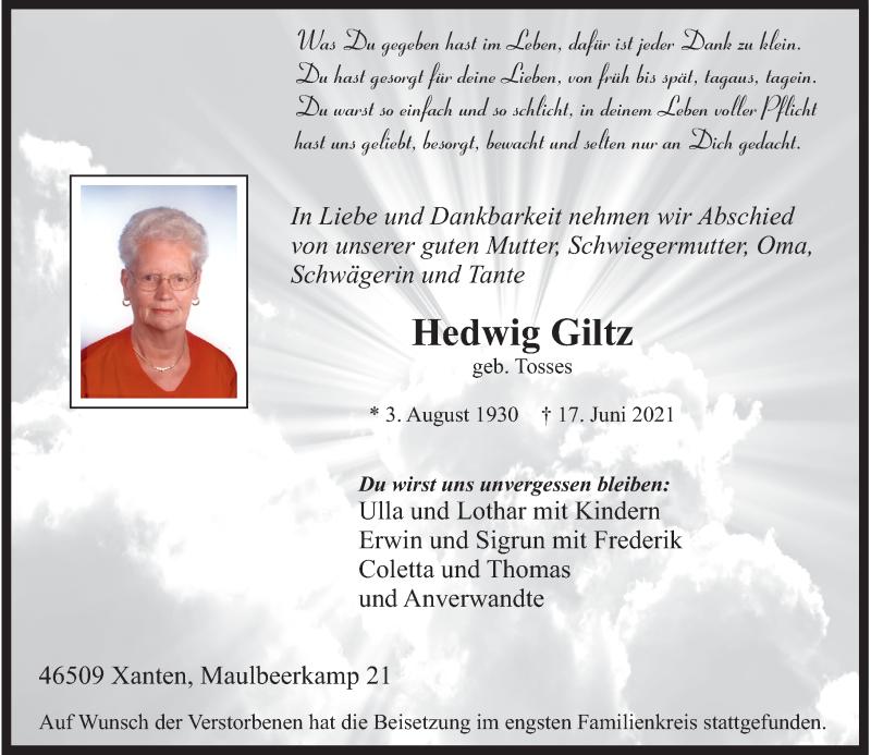 Traueranzeige für Hedwig Giltz vom 30.06.2021 aus Rheinische Post