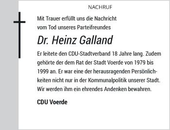 Traueranzeige von Heinz Galland von Rheinische Post