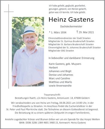 Traueranzeige von Heinz Gastens von Rheinische Post