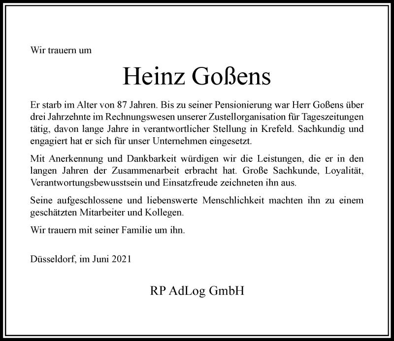 Traueranzeige für Heinz Goßens vom 12.06.2021 aus Rheinische Post