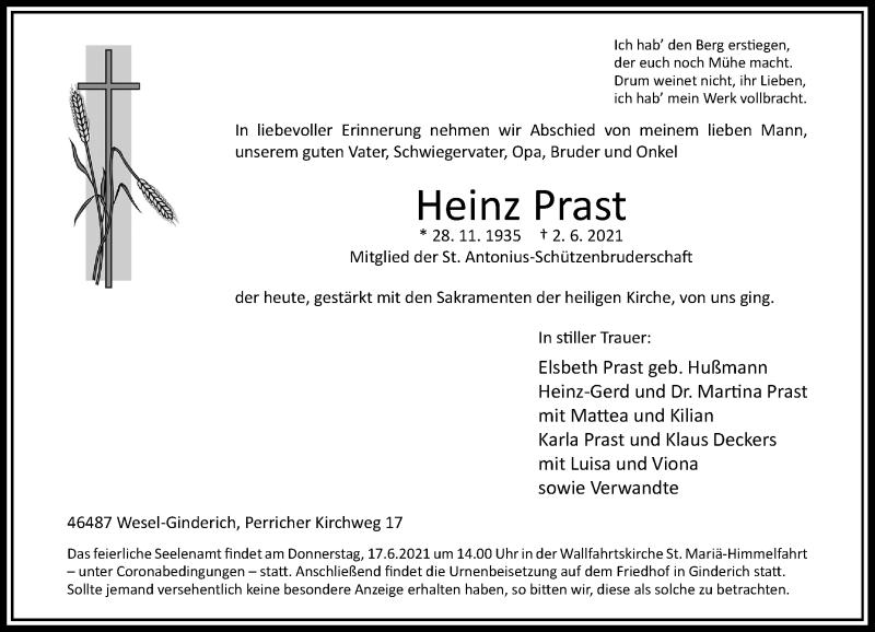 Traueranzeige für Heinz Prast vom 07.06.2021 aus Rheinische Post
