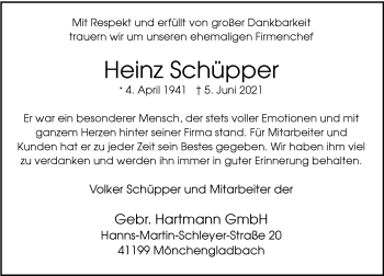 Traueranzeige von Heinz Schüpper von Rheinische Post