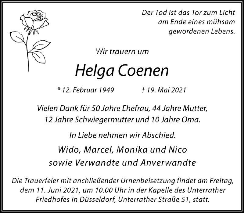 Traueranzeige für Helga Coenen vom 05.06.2021 aus Rheinische Post