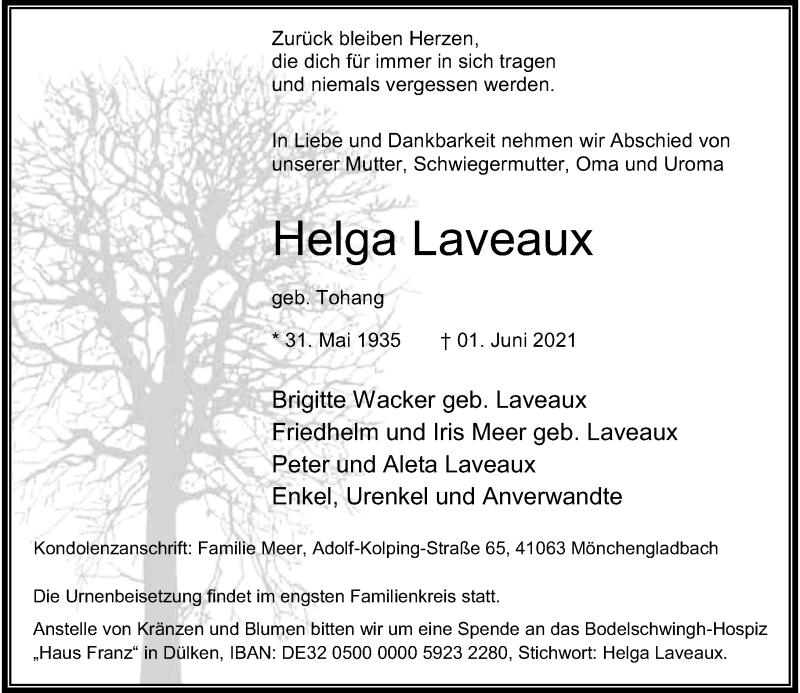 Traueranzeige für Helga Laveaux vom 05.06.2021 aus Rheinische Post