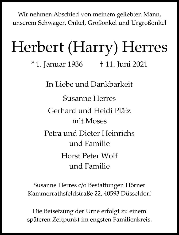 Traueranzeige für Herbert Herres vom 19.06.2021 aus Rheinische Post