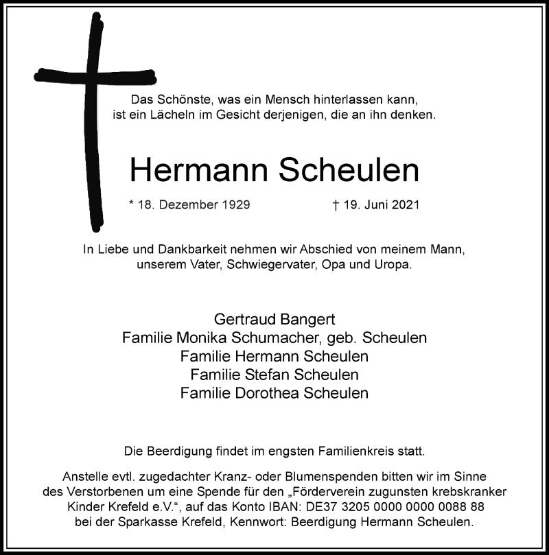 Traueranzeige für Hermann Scheulen vom 26.06.2021 aus Rheinische Post