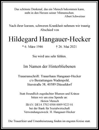 Traueranzeige von Hildegard Hangauer-Hecker von Rheinische Post