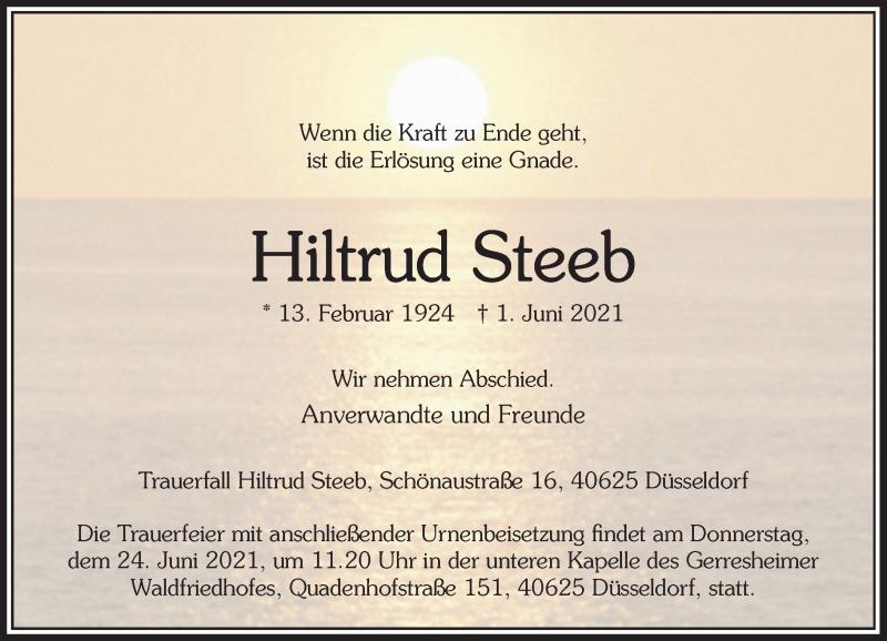 Traueranzeige für Hiltrud Steeb vom 19.06.2021 aus Rheinische Post