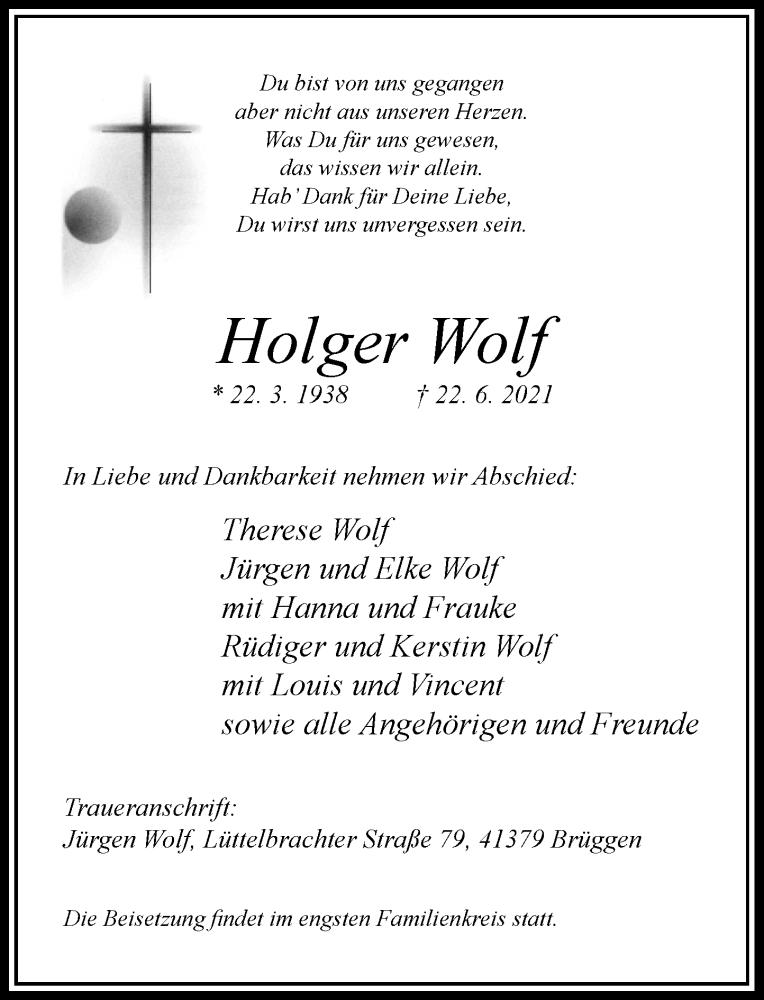 Traueranzeige für Holger Wolf vom 26.06.2021 aus Rheinische Post