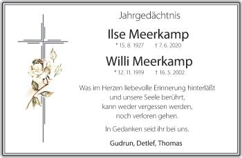 Traueranzeige von Ilse und Willi Meerkamp von Rheinische Post