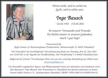Traueranzeige von Inge Bausch von Rheinische Post