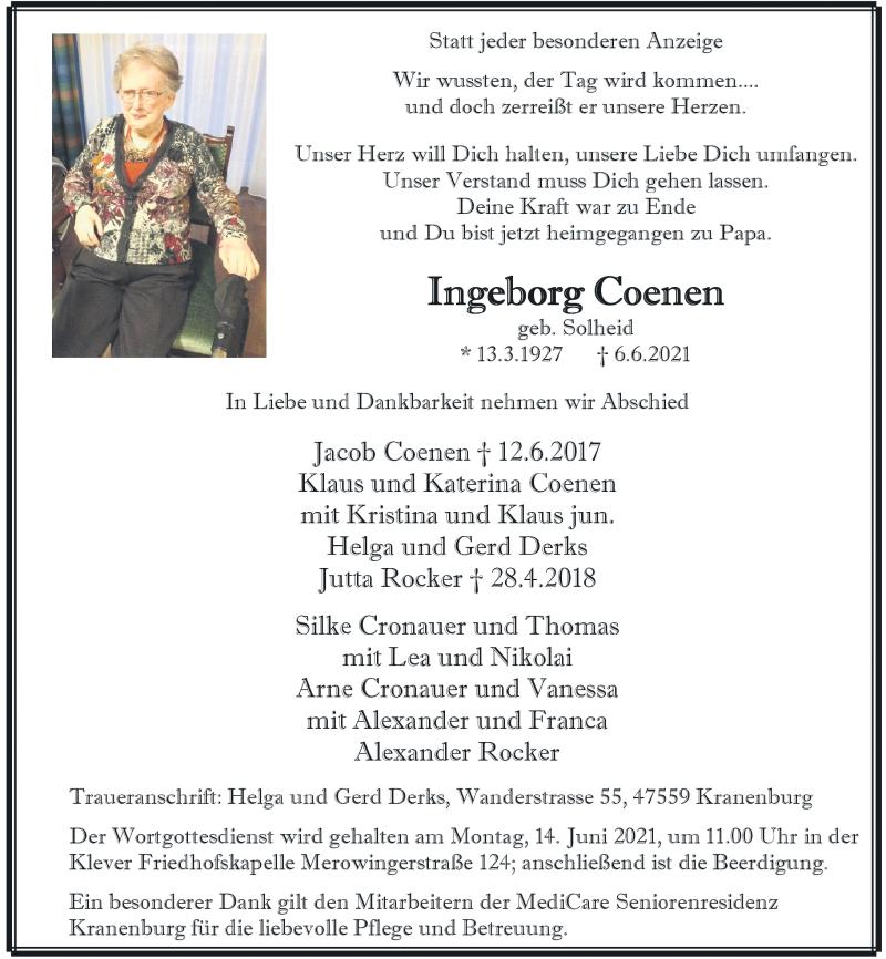 Traueranzeige für Ingeborg Coenen vom 11.06.2021 aus Rheinische Post