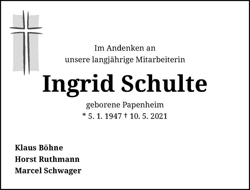 Traueranzeige für Ingrid Schulte vom 05.06.2021 aus Rheinische Post