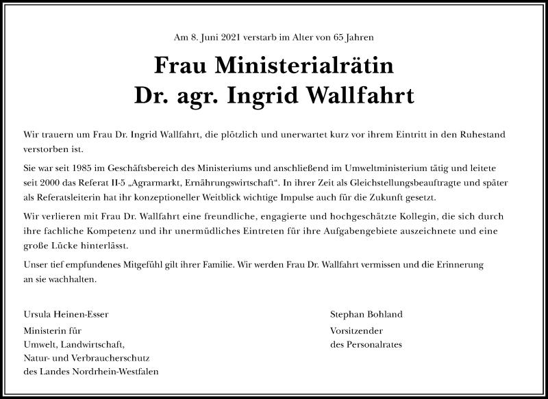 Traueranzeige für Ingrid Wallfahrt vom 19.06.2021 aus Rheinische Post