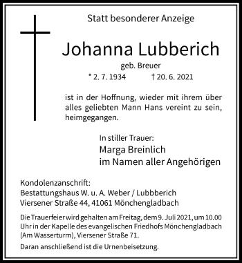 Traueranzeige von Johanna Lubberich von Rheinische Post