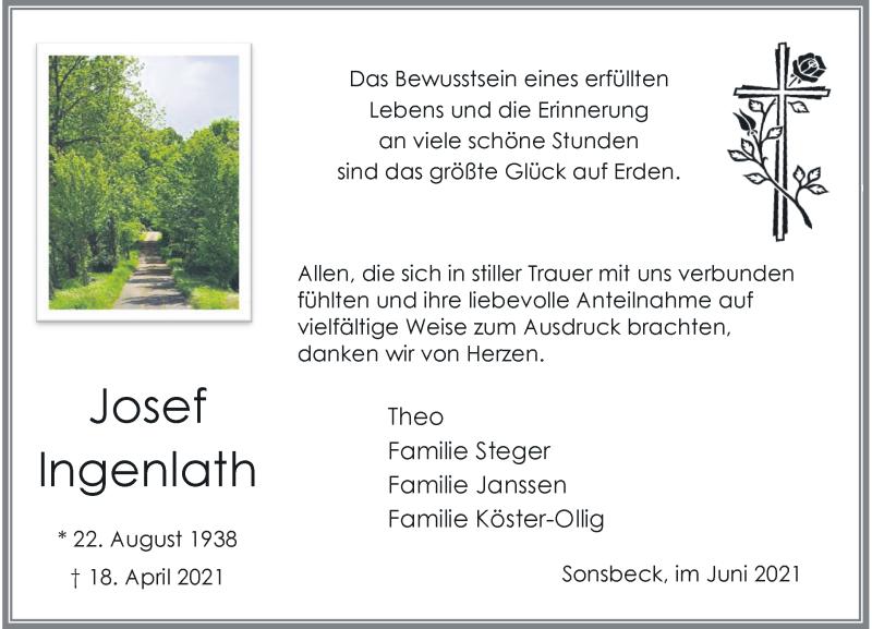 Traueranzeige für Josef Ingenlath vom 12.06.2021 aus Rheinische Post