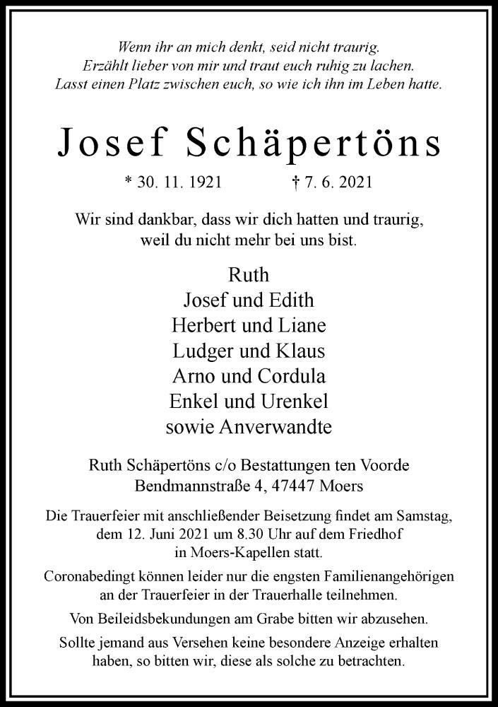 Traueranzeige für Josef Schäpertöns vom 09.06.2021 aus Rheinische Post