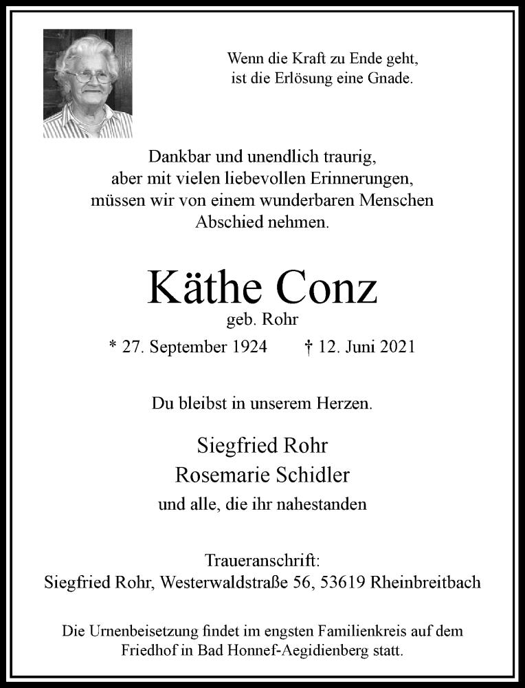 Traueranzeige für Käthe Conz vom 19.06.2021 aus Rheinische Post