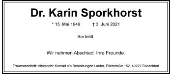 Traueranzeige von Karin Sporkhorst von Rheinische Post
