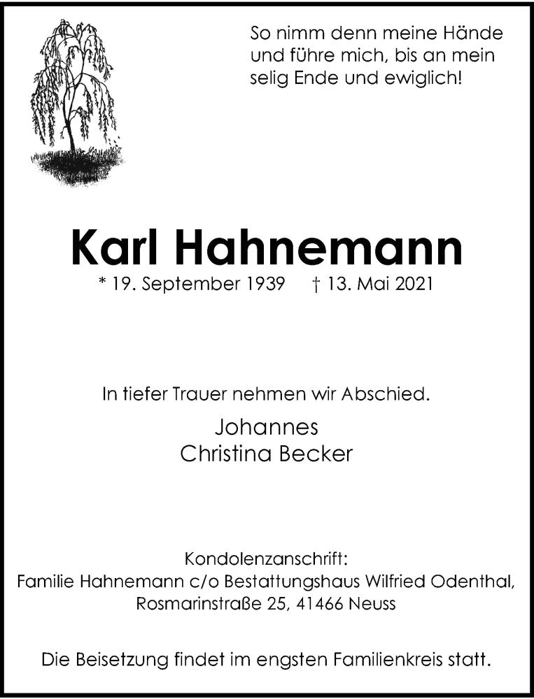 Traueranzeige für Karl Hahnemann vom 05.06.2021 aus Rheinische Post