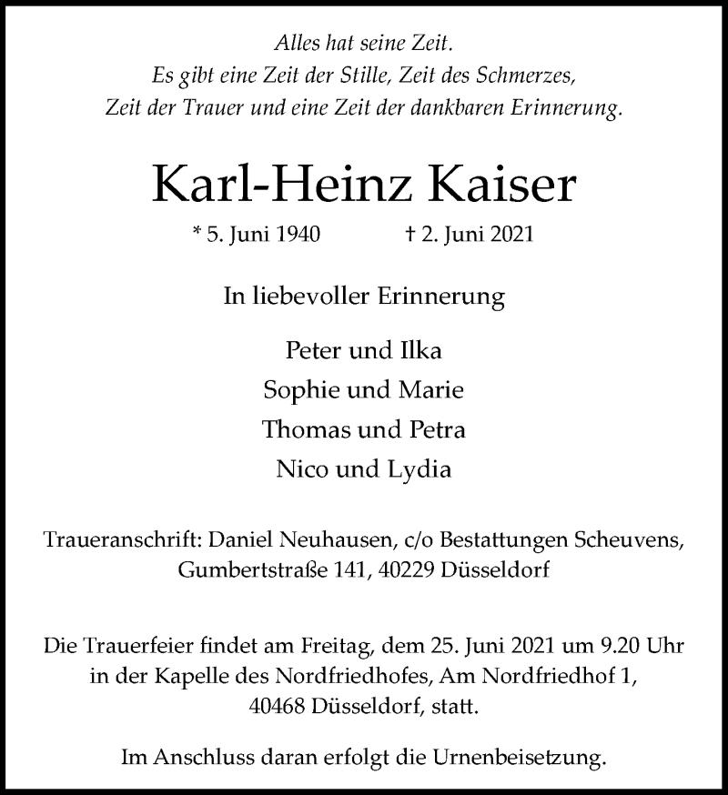 Traueranzeige für Karl-Heinz Kaiser vom 19.06.2021 aus Rheinische Post