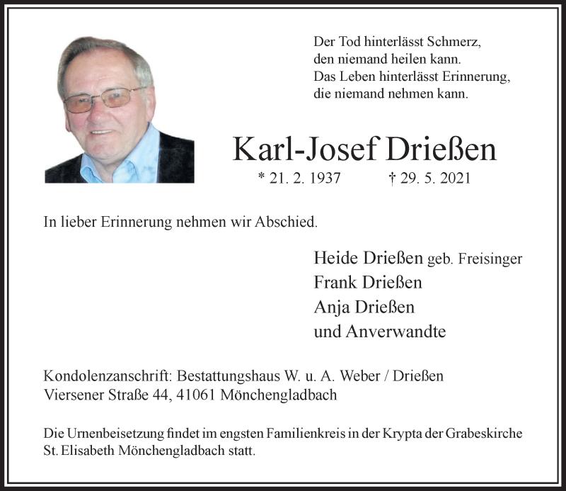 Traueranzeige für Karl-Josef Drießen vom 05.06.2021 aus Rheinische Post