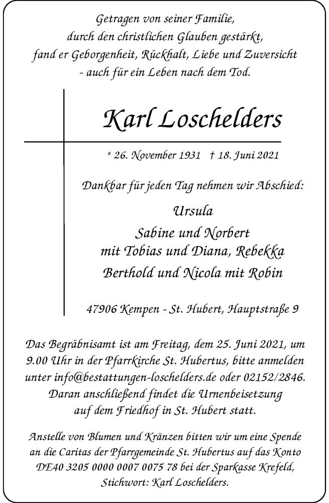Traueranzeige für Karl Loschelders vom 23.06.2021 aus Rheinische Post