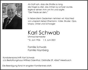 Traueranzeige von Karl Schwab von Rheinische Post