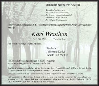 Traueranzeige von Karl Weuthen von Rheinische Post