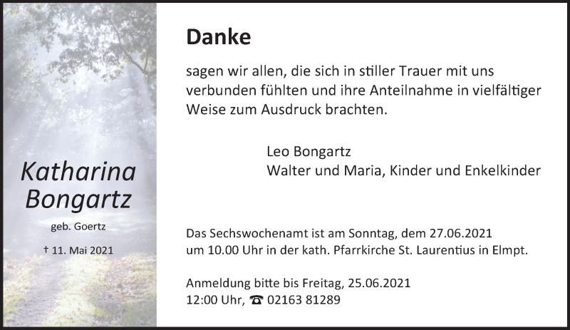 Traueranzeige für Katharina Bongartz vom 19.06.2021 aus Rheinische Post