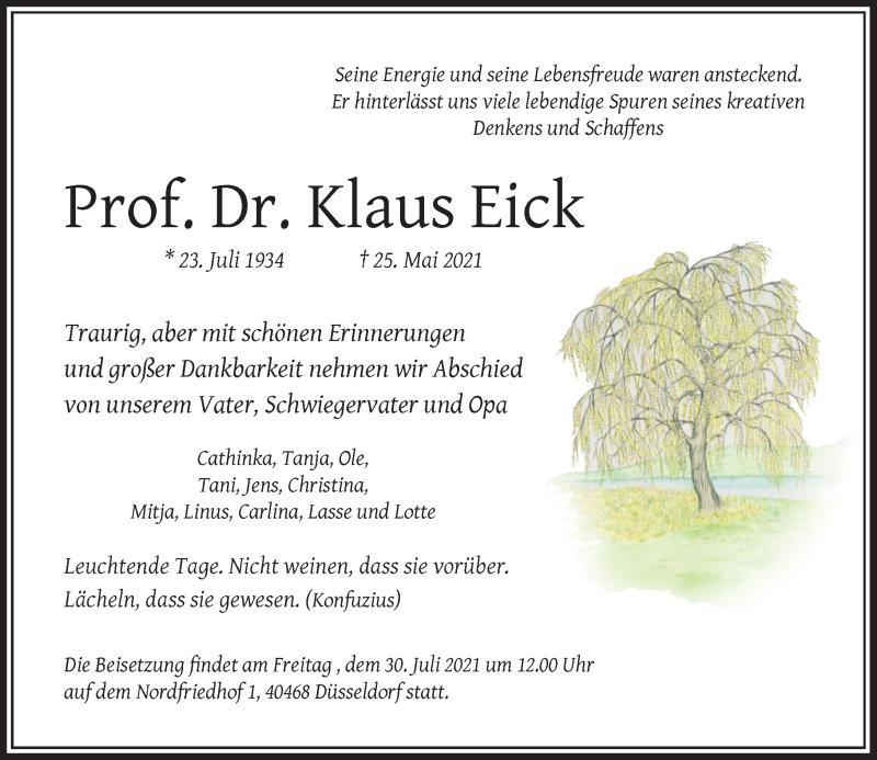 Traueranzeige für Klaus Eick vom 19.06.2021 aus Rheinische Post