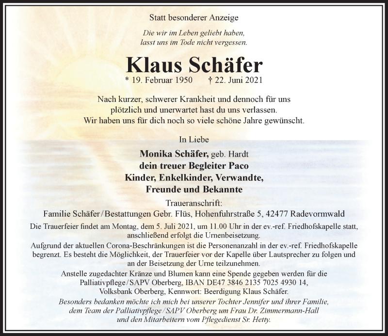 Traueranzeige für Klaus Schäfer vom 29.06.2021 aus Rheinische Post