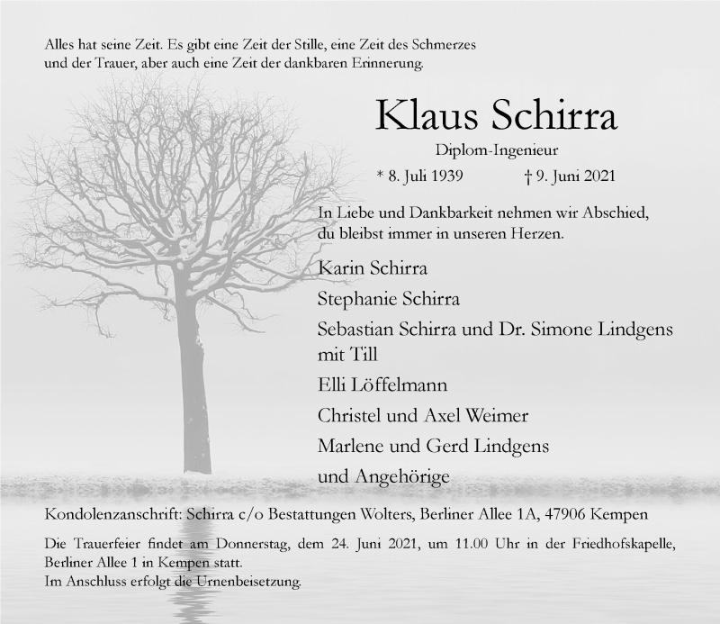 Traueranzeige für Klaus Schirra vom 19.06.2021 aus Rheinische Post