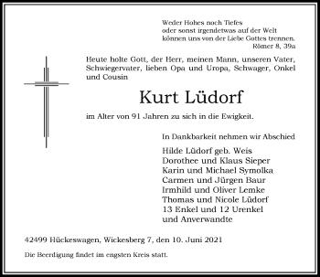 Traueranzeige von Kurt Lüdorf von Rheinische Post