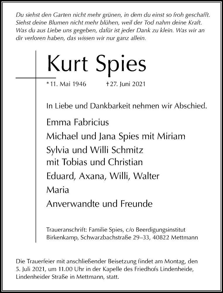 Traueranzeige für Kurt Spies vom 30.06.2021 aus Rheinische Post