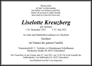 Traueranzeige von Liselotte Kreuzberg von Rheinische Post