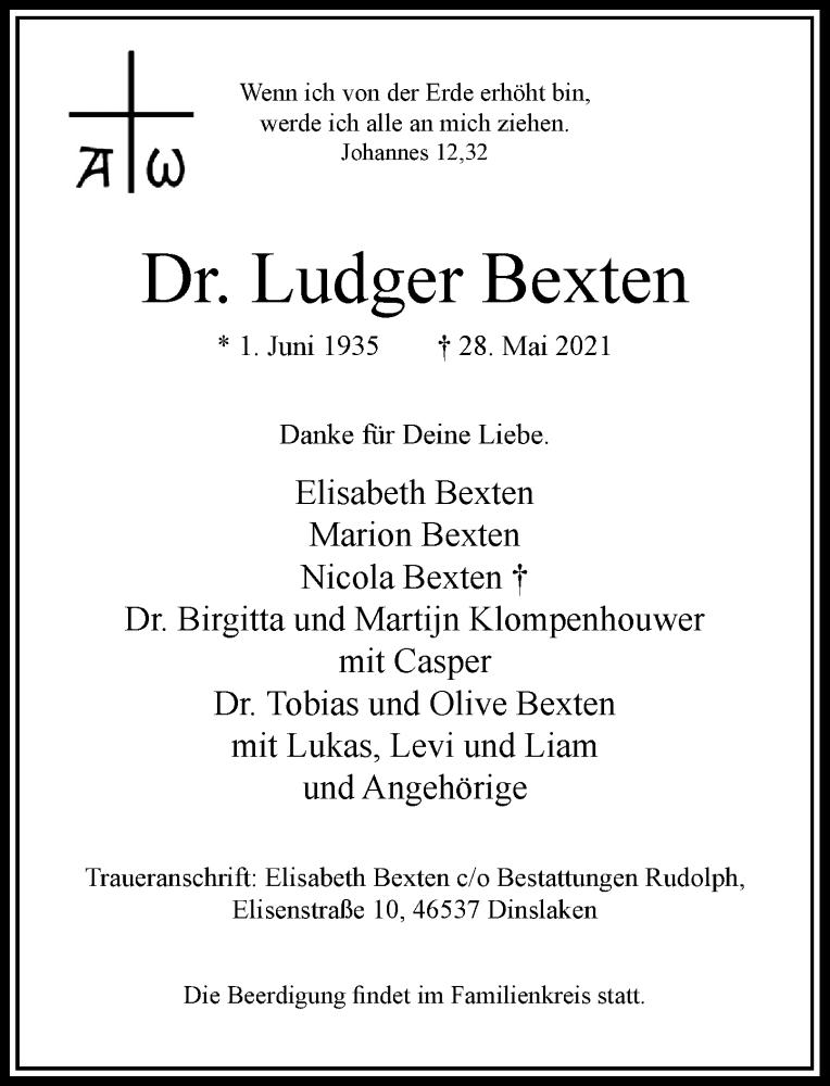 Traueranzeige für Ludger Bexten vom 05.06.2021 aus Rheinische Post