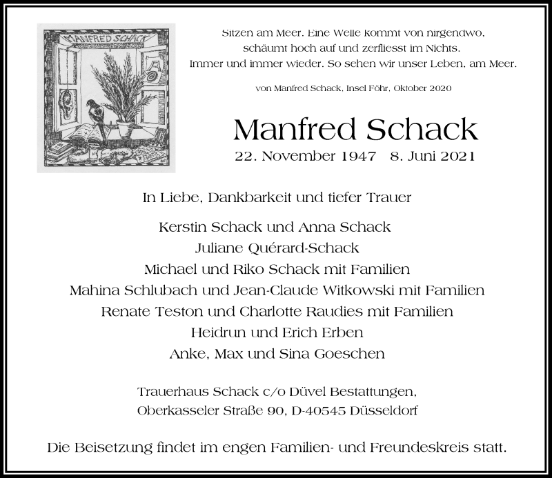 Traueranzeige für Manfred Schack vom 19.06.2021 aus Rheinische Post