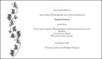 Traueranzeige von Manfred Schack von Rheinische Post