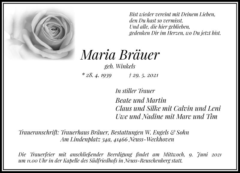 Traueranzeige für Maria Bräuer vom 05.06.2021 aus Rheinische Post