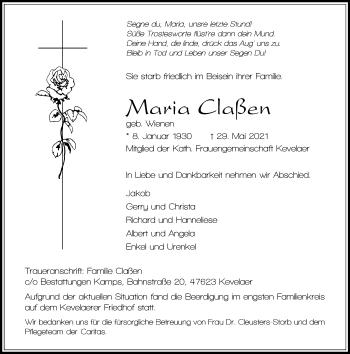 Traueranzeige von Maria Claßen von Rheinische Post