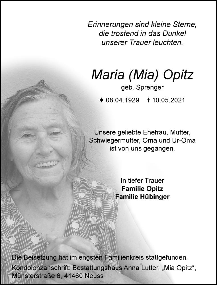 Traueranzeige für Maria  Opitz vom 05.06.2021 aus Rheinische Post